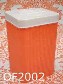 Oleofina plastic voorraadbus/bewaarbus 'Fifties' oranje/crème