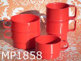 Mepal bekers/kopjes 'Eighties' (set van 5) rood
