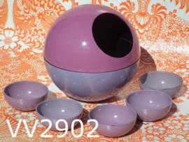 Pindabol + schaaltjes/pindaset 'Sixties' paars/lila