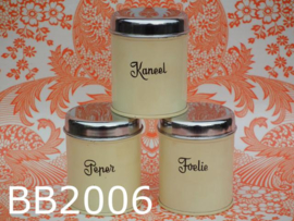 Brabantia blikjes/voorraadbussen 'Kruiden' (set van 3) crèmekleur
