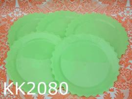 Kitsch Kitchen borden 'Plastic fantastic' limegroen (set van 5)
