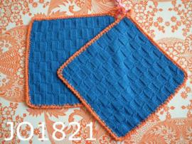 Gehaakte pannenlappen (set) kobaltblauw/oranje