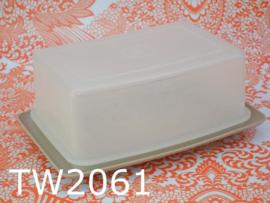 Tupperware botervloot/roggebrood bewaardoos 'Seventies' zandkleur/transparant