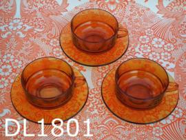 Duralex  soepkop + schotels glas 'Amber' (set van 3)
