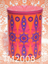 Tomado blik/trommel groot 'Kaleidoscoop' roze/oranje/paars