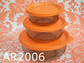 Arcoroc schalenset 'Seventies' bruin/oranje (set van 3)