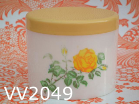 Voorraadpot/strooppot rozen 'Sixties' geel/wit