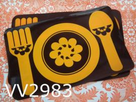 Placemats 'Seventies' bruin/geel (set van 2)