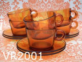 Vereco kop & schotels gehard glas (set van 6) amber