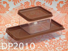 DBP plastic bewaardozen 'Seventies' (set van 2) bruin