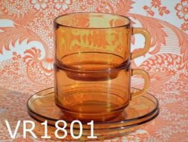 Vereco kop + schotels glas 'Amber' (set van 2)