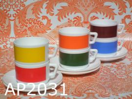 Arcopal kop & schotels 'Color blocking' (set van 6)