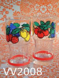 Glazen/longdrinkglazen 'Lemon & Cherry' (set van 2)