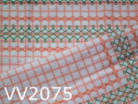Tafelkleedje geborduurd 'Sixties' wit/oranje/groen