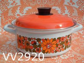 Pan/kookpan emaille'Seventies' oranje/wit/bloemen