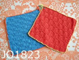 Gehaakte pannenlappen (set) rood/geel/blauw/oranje