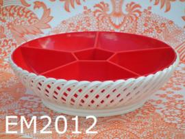 Emsa snackschaal/vakkenschaal 'Seventies' rood/wit