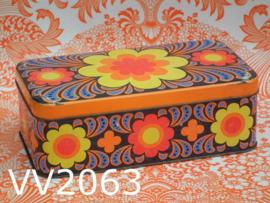Koektrommel/ koekblik 'Funky seventies' bloemen