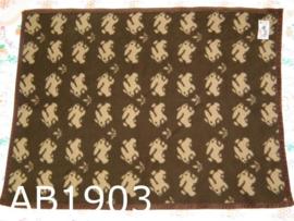 AaBe dekentje 'Seventies' konijntjes bruin/beige