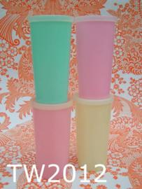 Tupperware  drinkbekers middelgroot 'Sixties' pastel (set van 4)