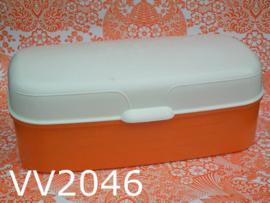 Broodtrommel kunststof 'Sixties' oranje/offwhite