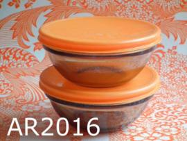 Arcoroc schalenset glas 'Seventies' oranje/bruin (set van 2)