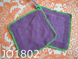 Gehaakte pannenlappen (set) paars/groen