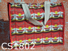 Retro shopper/schoudertas 'Campballs vegetable soup' rood