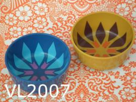 Valon Design schaaltjes/kommen 'Sixties' blauw/okergeel (set van 2)