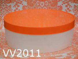Flair opbergdoos kunststof rond 'Seventies' oranje/wit