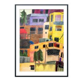 Kleurpotlood tekening Stad