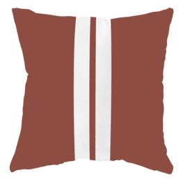LabelR - Outdoor kussen - Steenrood met 2 witte strepen