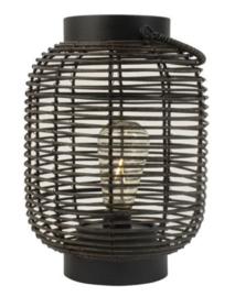 Gusta - lantaarn rotan - LED lamp - Zwart