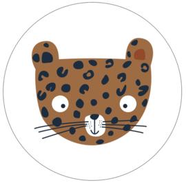 Labelr - Muurcirkel - Leopard - Bruin