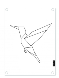 Labelr - Tuinposter - Kolibrie - Wit