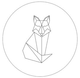 Labelr - Muurcirkel - Geometrische vorm vos - Wit
