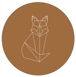 Labelr - Muurcirkel - Geometrische vorm vos - Hazelbruin