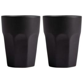 Gusta - Set van 2 mat zwarte mokken - 220 ml