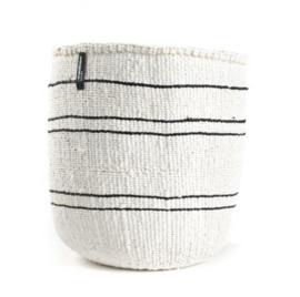Mifuko - mand - Wit met dunne zwarte lijntjes - Maat M