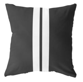 LabelR - Outdoor kussen - Zwart met 2 witte strepen