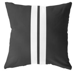 LabelR - Outdoor kussen - zwart 2 witte strepen - 50x50