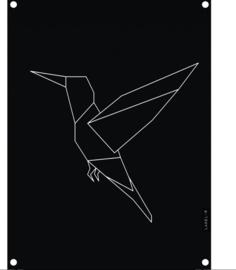 Labelr - Tuinposter - Kolibrie - Zwart