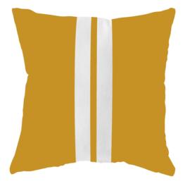 LabelR - Outdoor kussen - Geel met 2 witte strepen