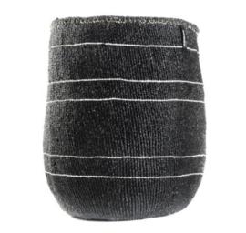 Mifuko - Mand - witte streepjes op zwart - maat M