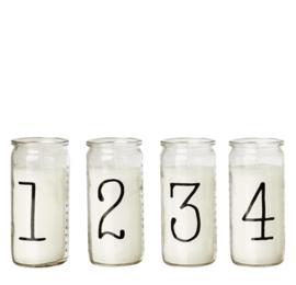 Affari of Sweden - Kaarsen in glas -1 2 3 4 - Zwart