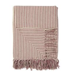 Ib Laursen - plaid - creme met roze streep