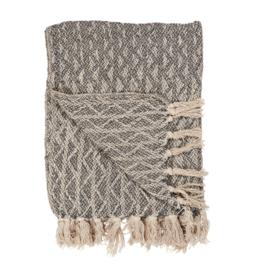 Ib Laursen - plaid - crème en grijs zigzag patroon