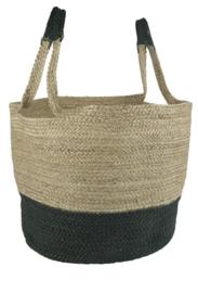 Ib Laursen - bag/mand met hengsels - jute - naturel met zwart