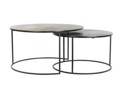 Salontafel - set van 2 - Ø61x37+Ø76x41 cm PRIMO zwart-brons+mat zwart