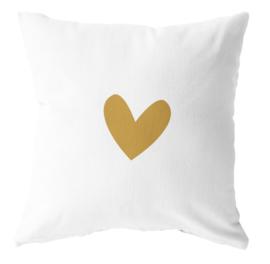 LabelR - Outdoor kussen - Wit met geel hartje